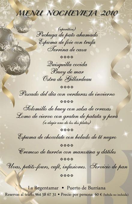 Restaurante la regentamar de burriana propone un men - Menus para fin de ano ...