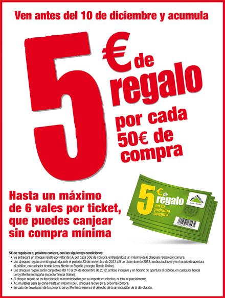 Ven a Leroy Merlín antes del 10 de diciembre y acumula 5 euros de descuento por cada 50 euros de ...