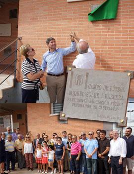 Placa en honor a Miquel Soler del Club de Veteranos en el Sindical