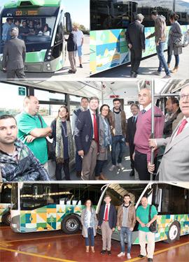 Visita del alcalde para ver el nuevo diseño del vehículo del TRAM