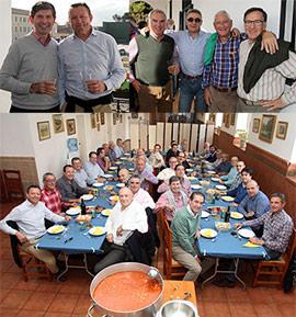 Un grupo de amigos alrededor de la auténtica fabada asturiana