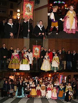 Traslado del estandarte, anunciador de las fiestas en honor a Sant Antoni y Santa Águeda de Benicàssim