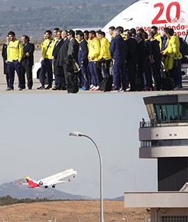 Despega el primer avión en el Aeropuerto de Castellón con el equipo del Villarreal