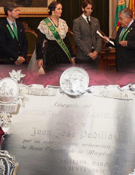Acto de entrega del premio al mejor torero de la Feria Taurina Magdalena 2014 al diestro Juan José Padilla