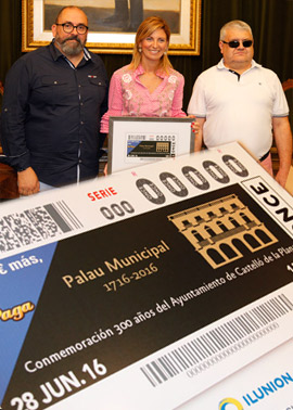 Un cupón especial de la ONCE dedicado al 300 aniversario del Palacio Municipal de Castellón