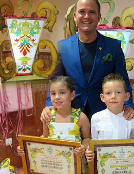 Sofía Gallego Sánchez-Pantoja madrina de honor y Hugo Gómez Pérez presidente de honor infantil de la Gaiata 17
