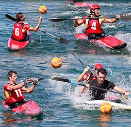 Deportistas del Real Club Náutico de Castellón con la selección española de Kayak Polo van a Francia