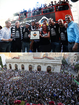 Fiesta del ascenso del CD Castellón junto a los aficionados albinegros