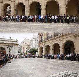 Minuto de silencio para condenar el asesinato de dos niñas en Castellón