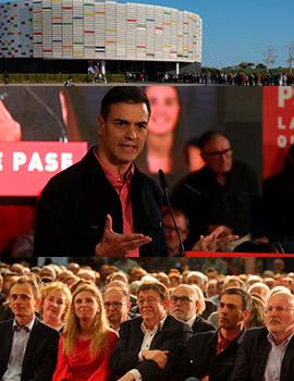 El presidente del Gobierno, Pedro Sánchez abre la campaña electoral del PSOE en Castellón en el Palau de la Festa de Castelló