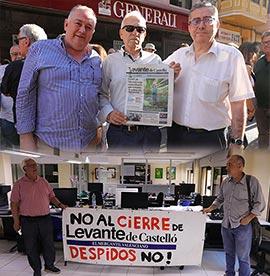 Protestas contra el cierre del periódico Levante de Castelló