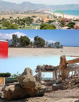 Imágenes de los trabajos de derribo del mítico restaurante Ortega Playa