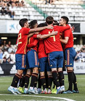 Victoria de España en el partido de fútbol España-Montenegro Sub-21
