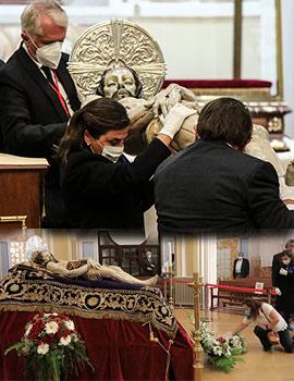 La Cofradía de la Sangre reabre al público su capilla con la imagen del «Sant Sepulcre» acostada en su cama procesional