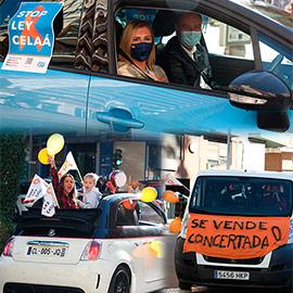 Manifestación con vehículos en contra de la ley Celaá en Castellón